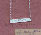 jewels,engraved handwriting bar necklace,jewelry,pendant,birthday gifts,gifts for mom,engraved jewelry,bar necklace,signature necklace,memorial necklace,memorial signature,fine jewelry designer