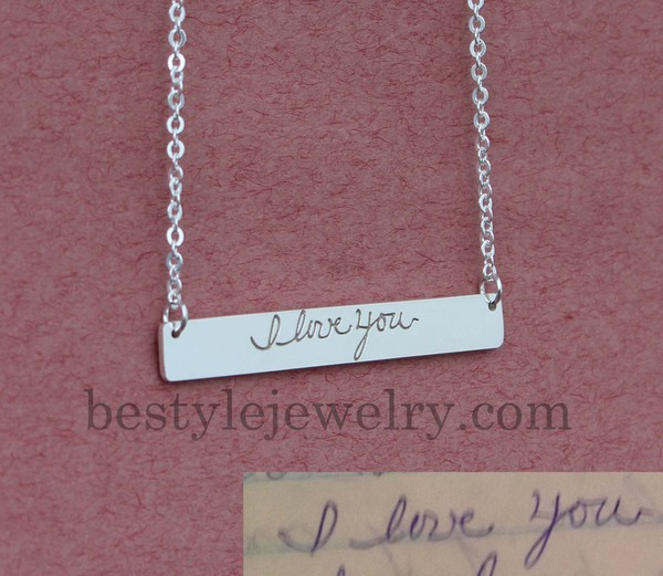 jewels engraved handwriting bar necklace jewelry pendant birthday gifts gifts for mom engraved jewelry bar necklace signature necklace memorial necklace memorial signature fine jewelry designer