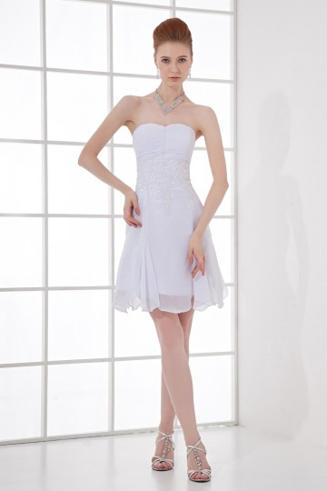 Short White Simple Sleeveless Ruching Strapless Dress for wedding [ZHY080]- US$ 119.99 - PersunMall.com