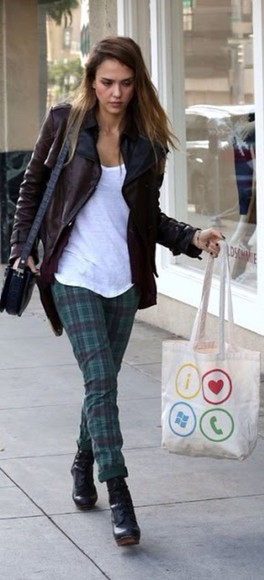 pants printed pants bag green trousers tartan jessica alba