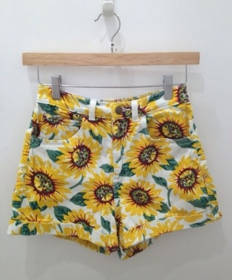 shorts flowered shorts floral sunflower sunflower shorts tumblr summer indie sunflower print pants daisy flowers hgih waisted denim shorts hgih waist american apparel print