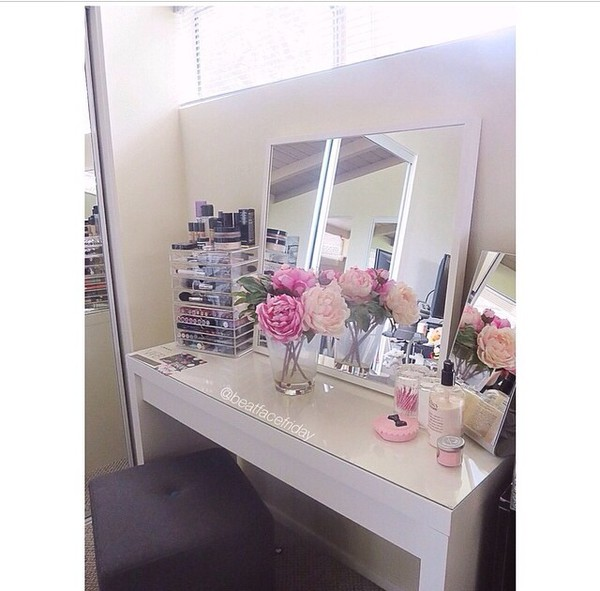 in the picture makeup table everything makeup table