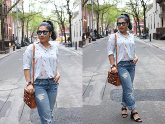 mimi & chichi blog blogger jacket shorts shoulder bag brown bag sandals spring outfits summer outifts jeans