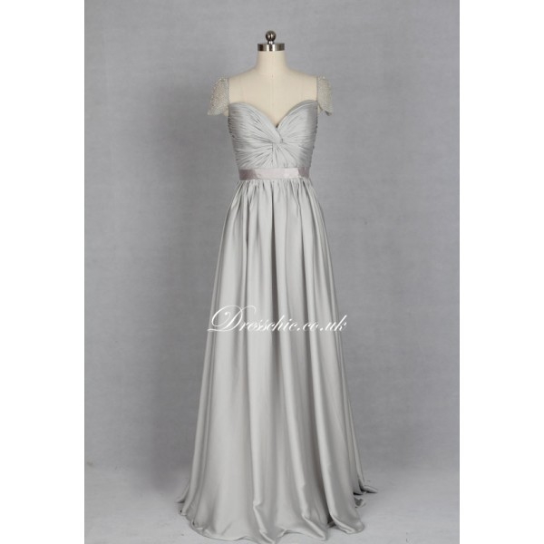 silver bridesmaid dress cap sleeves dresses beaded long dress dress