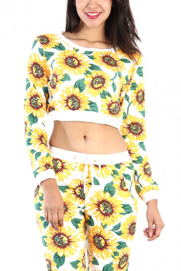 LoveMelrose.com From Harry & Molly | SUNFLOWER CROP SWEATER