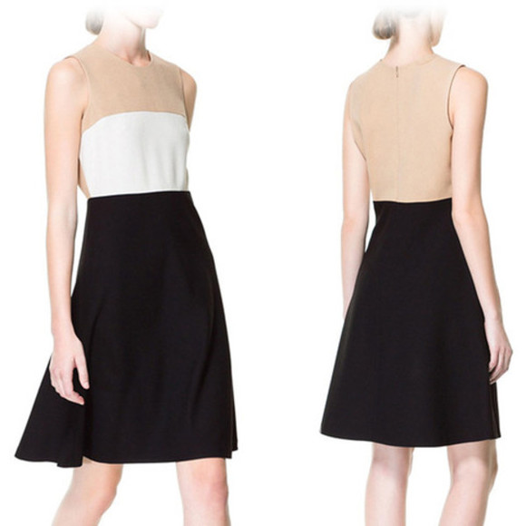 color block white black dress zara zara dress color block dress little black dress white dress monochrome sleveless sleeveless sleveless dress corporate chic business dress business casual business casual dress beige dress beige tricolor