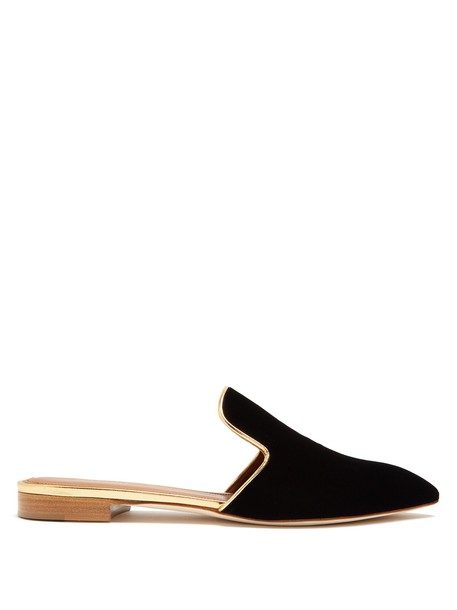 MALONE SOULIERS backless loafers velvet black shoes