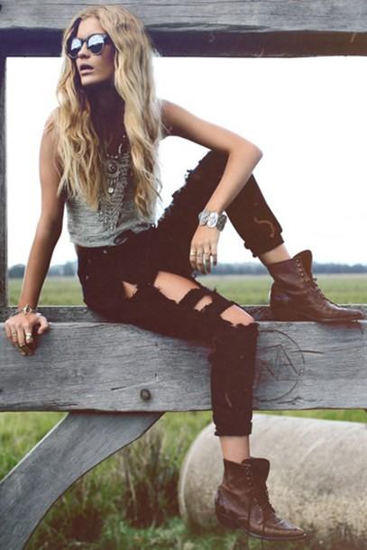 2e87e44038a jeans large jeans denim boyfriend jeans ripped jeans black jeans black  ripped jeans sabo skirt wild