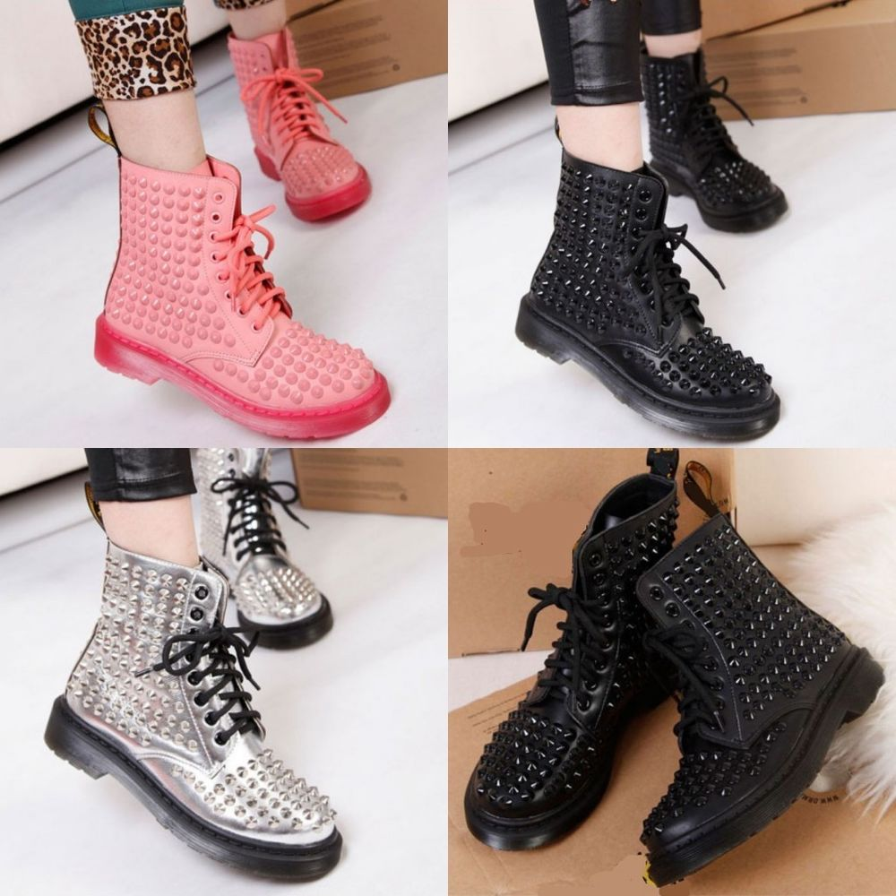 Womens punk leather retro rivets lace up round toes flat ankle boots shoes size