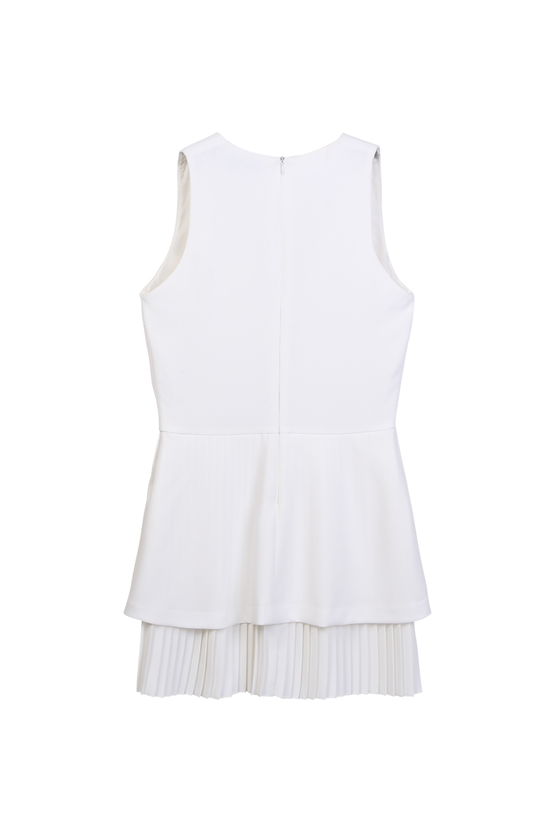 Sleeveless top with peplum hem