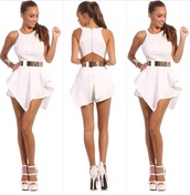 shorts,white jumpsuit,jumpsuit,dress,shoes,floral,blouse,romper,party,short,help me pla,white dress,instagram,whie jumpsuits,evenlope dress,sexy dress,belt,ebonylacefashion,www.ebonylace.net,white jumper,silver belt,peplum,strappy,high,neck,girl,night,out,smart,cut-out,open back,white,heels,white romper,outfit,outfit dress,classy dress,jumpsuit all white skort,gold,gold belt,waist belt,sweater,grey sweater