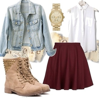 jacket jeans denim jacket light pastel girly cute pretty outfit idea ideas skirt shoes boots combat boot studs tab maroon/burgundy solid color red pleated short skirt burgundy skirt blouse combat boots beige studded stud jewels burgundy