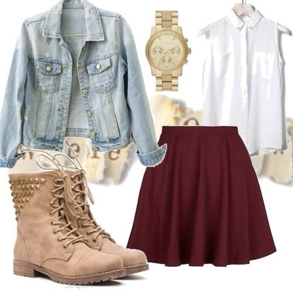jacket jeans denim jacket light pastel girly cute pretty outfit outfit idea ideas skirt shoes boots combat boot studs tab maroon/burgundy solid color red pleated short skirt burgundy skirt blouse combat boots beige studded stud jewels burgundy