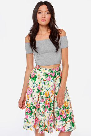 Floral Print Skirt - Cream Skirt - Midi Skirt - High-Waisted Skirt ...