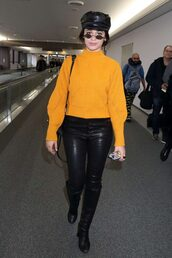 sweater,orange,camila cabello,pants,hat,celebrity