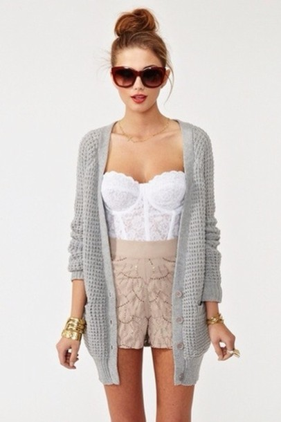 sweater sunglasses shirt shorts jewels grey tank top white retro corset lace corset top bustier white cute nastygal grey cardigan top white lace