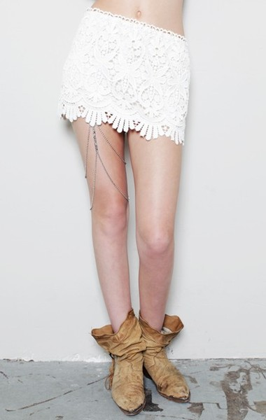 Stone_cold_fox Diego Lace Mini Skirt in White (white/pink) | Lyst