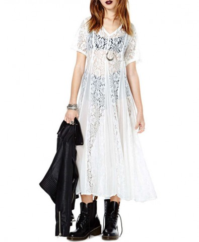 Short Sleeves Chiffon Lace Dress - Dresses - Clothing