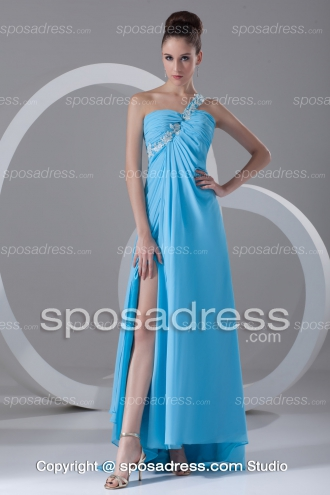 2013 Summer One Strap Pleated Chiffon Blue Prom Dress - Sposadress.com