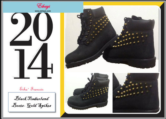 shoes black boots black spiked black boots black timberland boots gold spike timberlands black timberlands black, biker, boots, gold, studded, timberland