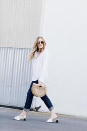 eat sleep wear,blogger,top,jeans,shoes,bag,cult gaia bag,white shirt,slide shoes,spring outfits