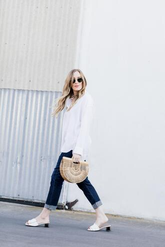 eat sleep wear blogger top jeans shoes bag cult gaia bag white shirt slide shoes spring outfits
