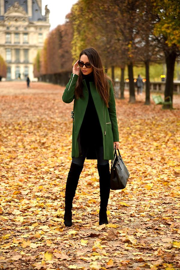 jessica r. blogger coat green coat wool coat fall coat