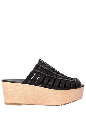 country mules leather black shoes