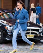 jacket,blazer,stripes,oversized jacket,jeans,slingbacks,mid heel pumps