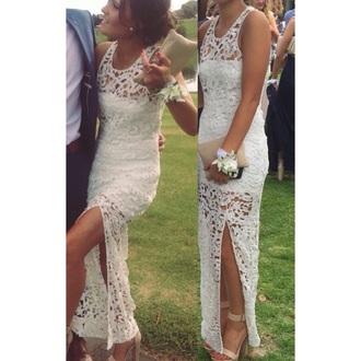 dress split white dress white dress formal flowers lace cutout