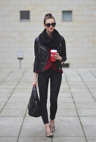vogue haus blogger scarf sunglasses flats leopard print leather jacket black bag red sweater