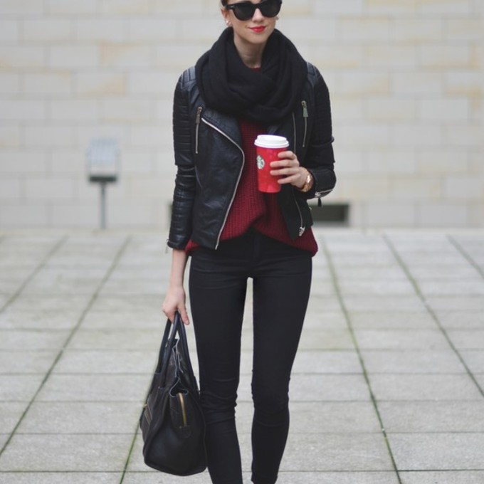 jewels scarf jacket jeans sunglasses shoes sweater bag leather jacket blogger red sweater vogue haus flats leopard print black bag scarf red