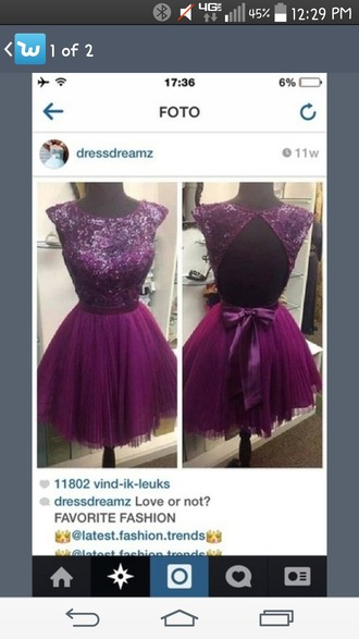 dress purple sparkly short bow open back