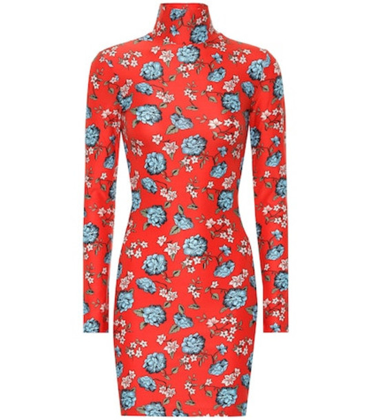 Vetements Floral printed minidress in red