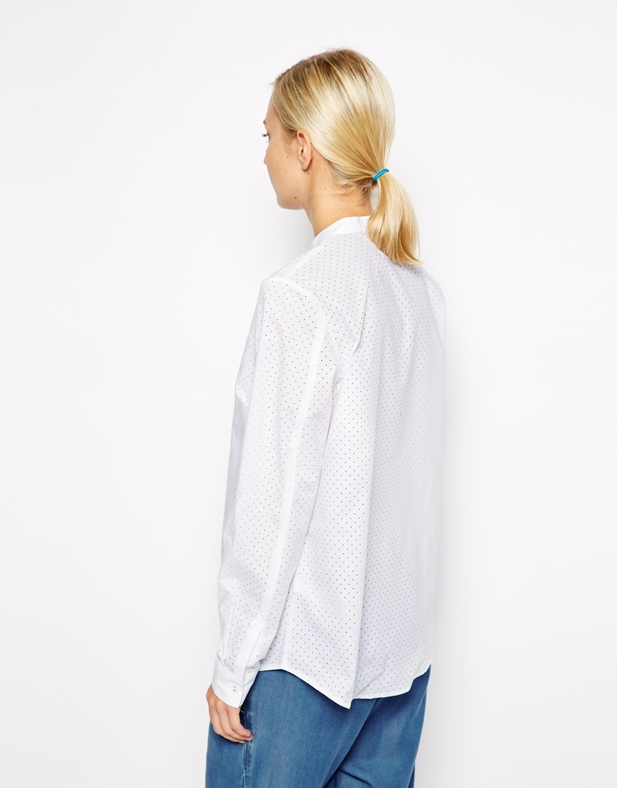ASOS WHITE Punched Poplin Shirt with Grandad Collar at asos.com
