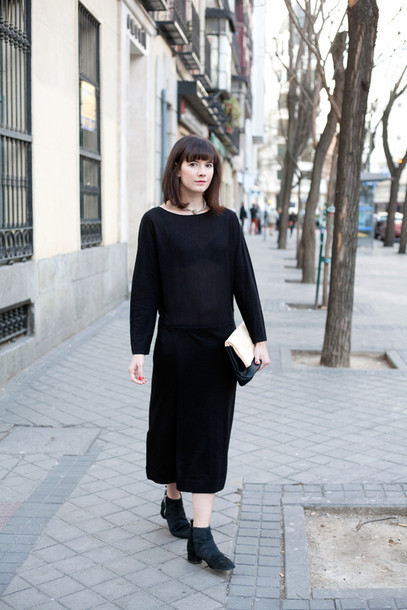 che cosa blogger black dress ankle boots