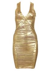 dress,celebindress,fashion,girl,chic,sexy,gold,elegant,party,evening dress,clubwear,bandage,bandage dress,metallic,v neck,halter neck
