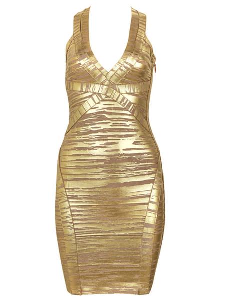 dress dress celebindress fashion girl chic sexy gold elegant party evening dress clubwear bandage bandage dress metallic v neck halter neck
