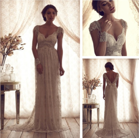 Luxury V Neck Anna Campbell Wedding Dresses Lace Crystal Beaded Bridal Gowns With Sleeves vestidos de novia 2014-in Wedding Dresses from Apparel & Accessories on Aliexpress.com