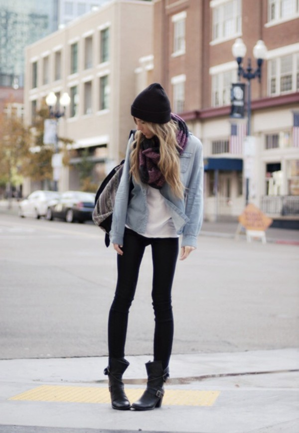 blouse cute scarf jeans jacket tumblr outfit