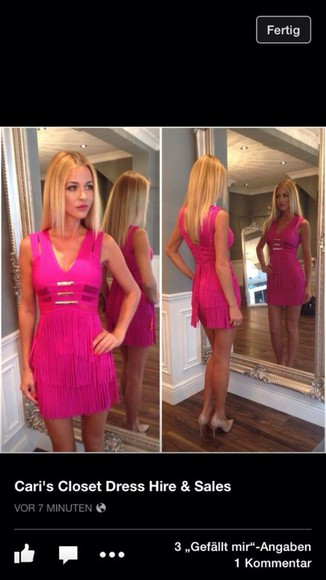 bandage dress pink dress fuchsia dress fuchsia fringe dress tassle