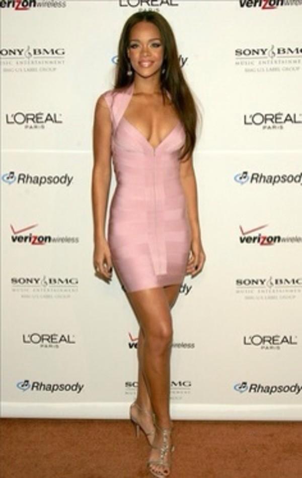 Vegas - Pink V-Neck Short Sleeve Bandage Dress with Front Zipper ...