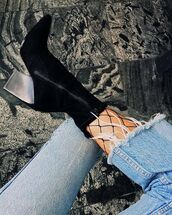 shoes,tumblr,high heels boots,boots,black boots,pointed boots,tights,fishnet tights,net tights,denim,jeans,blue jeans,sock boots,frayed denim