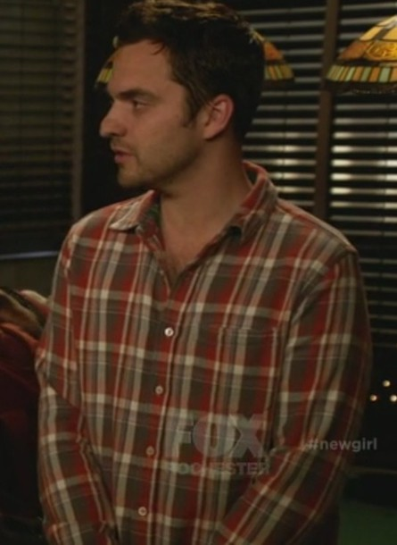 shirt jake johnson new girl plaid men shirts nick miller