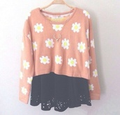 flower power,flowerpower,hippie,cute sweater,sweaterpower,floral sweater,want him,pink with daisies,pink with flowers,so cute!!!,skirt