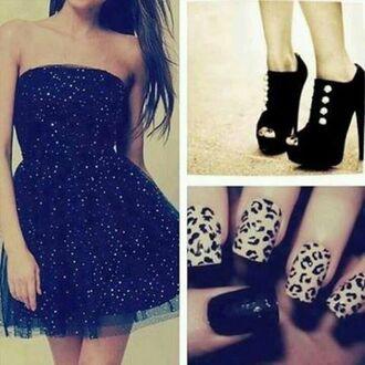 dress black dress black heels sparkly dress leopard print nail stickers