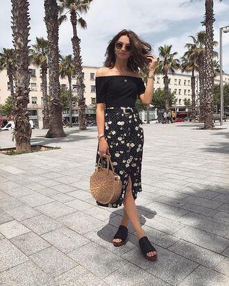 top bag skirt slide shoes black slides sunglasses