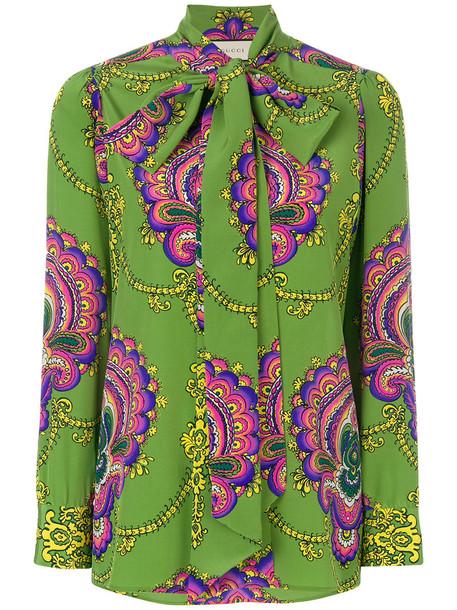 gucci blouse women print silk green top