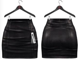 skirt black leather mini tight short skin tight