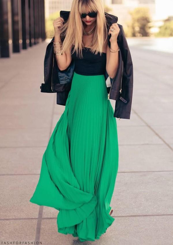 skirt maxi skirt long skirt green pleated skirt